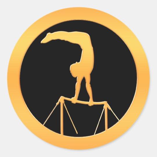 Uneven Bars Gold Gymnast Classic Round Sticker
