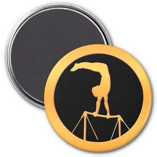 Uneven Bars Gold Gymnast Refrigerator Magnets