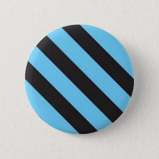 Uneven Blue and Black Stripes Button