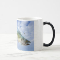 aquatic, aquatic life, fly, funny, flying fish, fish, fishes, blue, ground, bubbles, creature, arrive, arrval, unexpected, houk, art, artwork, illustration, digital art, digital realism, surreal, surreal art, unique, suprise, mood, bestseller, best selling, animal, surprise, Mug with custom graphic design