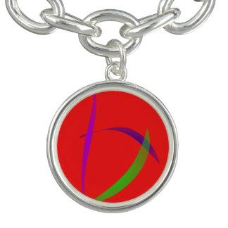 Unfettered Scarlet Abstract Art Bracelets
