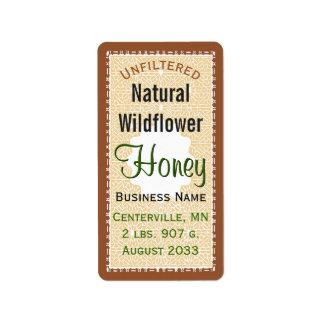 Unfiltered Natural WIldflower Honey Jar Label