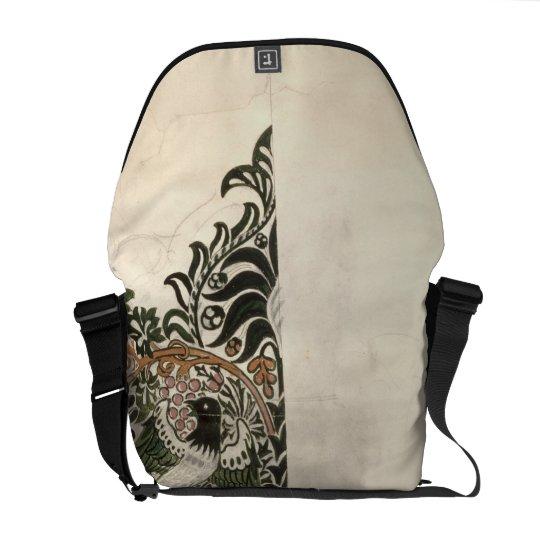 Unfinished 'Bird and Vine' wood block design for w Messenger Bag