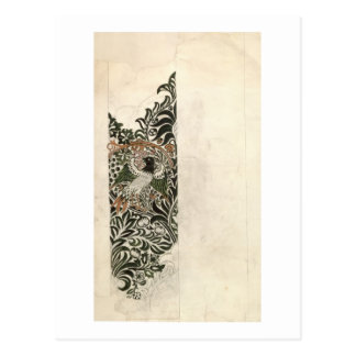 Unfinished 'Bird and Vine' wood block design for w Postcard