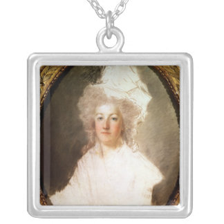 Unfinished portrait of Marie-Antoinette Silver Plated Necklace
