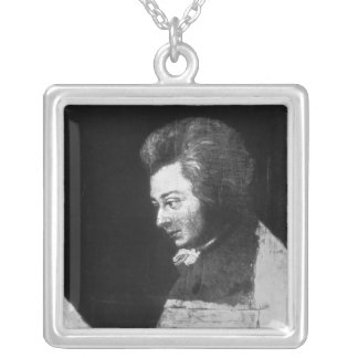Unfinished Portrait of Wolfgang Amadeus Mozart Silver Plated Necklace