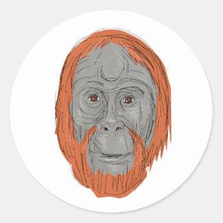 Unflanged Male Orangutan Drawing Classic Round Sticker