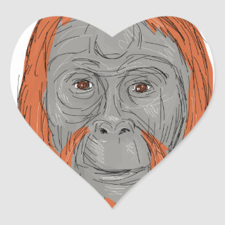 Unflanged Male Orangutan Drawing Heart Sticker