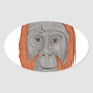 Unflanged Male Orangutan Drawing Oval Sticker