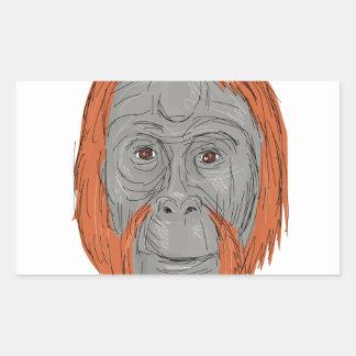 Unflanged Male Orangutan Drawing Rectangular Sticker
