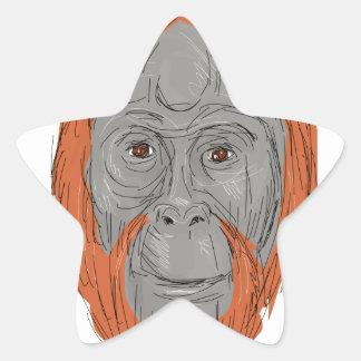 Unflanged Male Orangutan Drawing Star Sticker