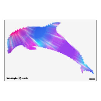 Unfocused Blue Pink and Purple Dolphin Wall Skin