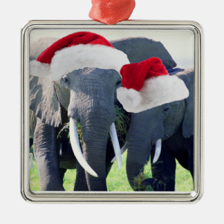 Unforgettable Elephant Christmas Square Metal Christmas Ornament