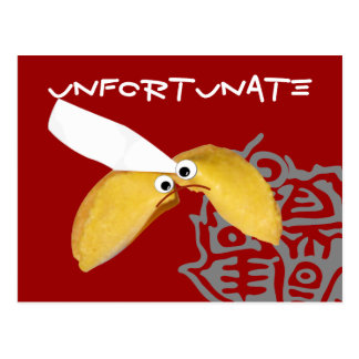 'unfortunate' fortune cookie humorous parody postcard