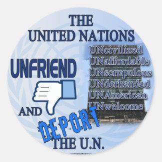 Unfriend el U.N. Pegatina Redonda
