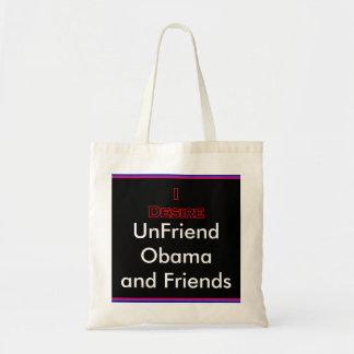 UnFriend Obama and  Progressive Friends Tote Bag