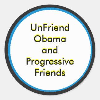 UnFriend Obama y amigos progresivos Pegatinas Redondas