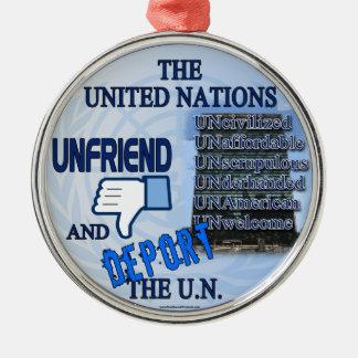 Unfriend the U.N. Round Metal Christmas Ornament