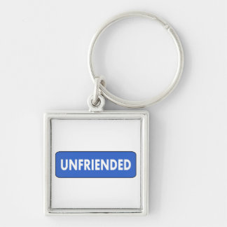 Unfriended Silver-Colored Square Keychain