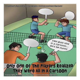 Unfunny Tennis Cartoon Poster (Actually Funny)
