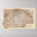 Ungarn, mapa del atlas de Hungría Poster
