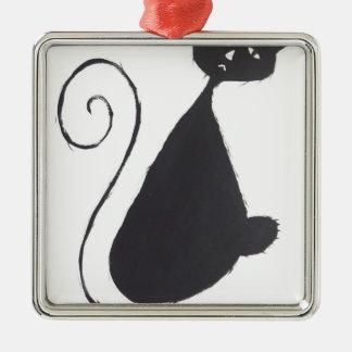 Unhappy Cat Metal Ornament