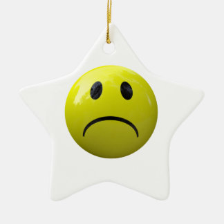 unhappy face emoji ceramic ornament