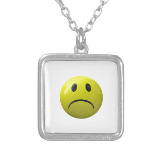 unhappy face emoji silver plated necklace