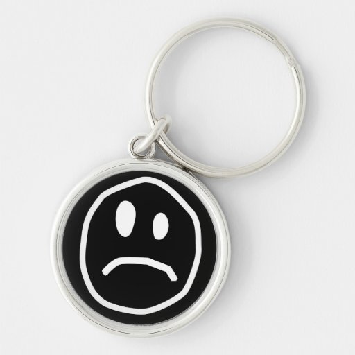 Unhappy face keychain 2