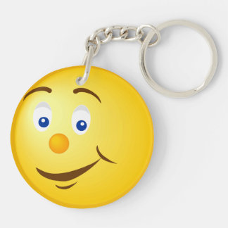 Unhappy Happy Yellow Face Double-Sided Round Acrylic Keychain
