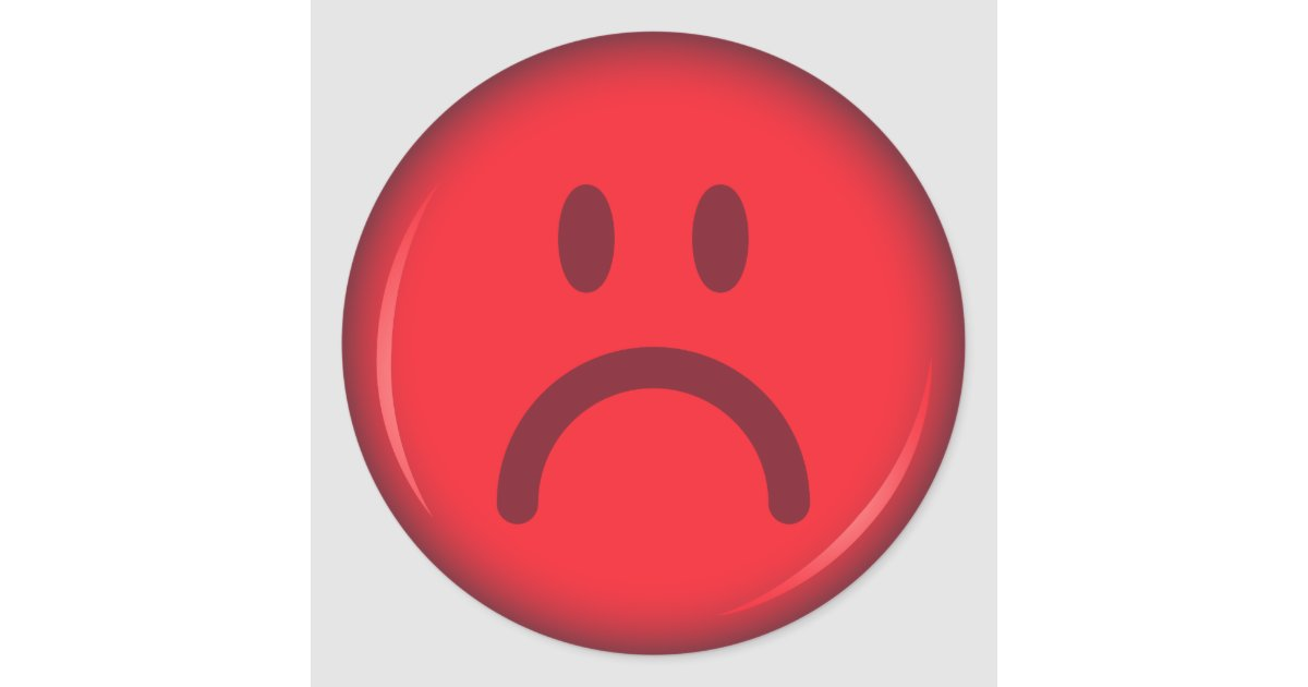 Unhappy pouty angry red smiley face classic round sticker ...