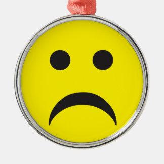 Unhappy Smiley Sadness Face Metal Ornament