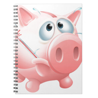 Unhealthy finances concept spiral note books