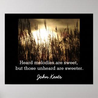 Unheard Melodies - John Keats quote - art print