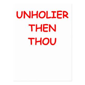 unholier than thou postcard