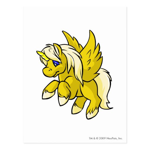 Uni amarillo tarjeta postal