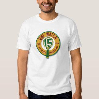 Uni camiseta del reloj 15th-Anniversary Poleras