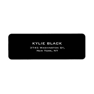 Único contemporáneo elegante llano negro y blanco etiqueta de remitente