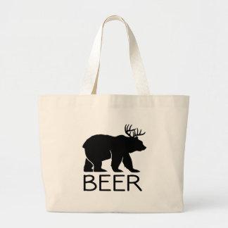 Único divertido del oso de la cerveza bolsa tela grande