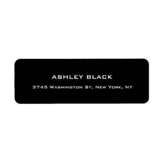 Único moderno elegante llano negro profesional etiqueta de remitente