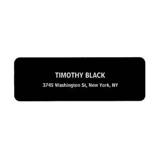 Único moderno elegante llano negro y blanco etiqueta de remitente