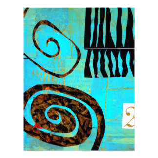 Único original moderno urbano azul del arte abstra membrete