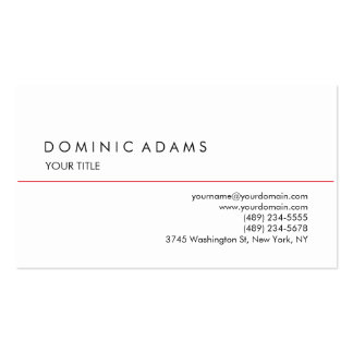 Único profesional blanco negro llano elegante tarjetas de visita