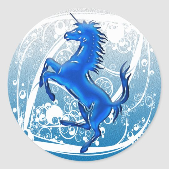 Unicorn 1 blue classic round sticker