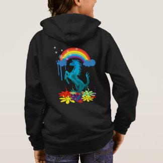 Unicorn 1 cyan with rainbow flowers hoodie