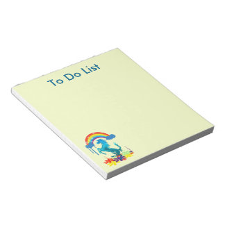 Unicorn 1 cyan with rainbow flowers notepad
