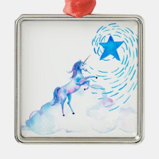 Unicorn 1 metal ornament