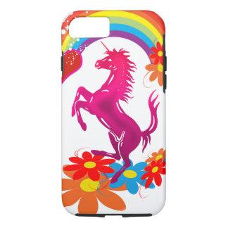 Unicorn 1 pink with rainbow flowers iPhone 7 case