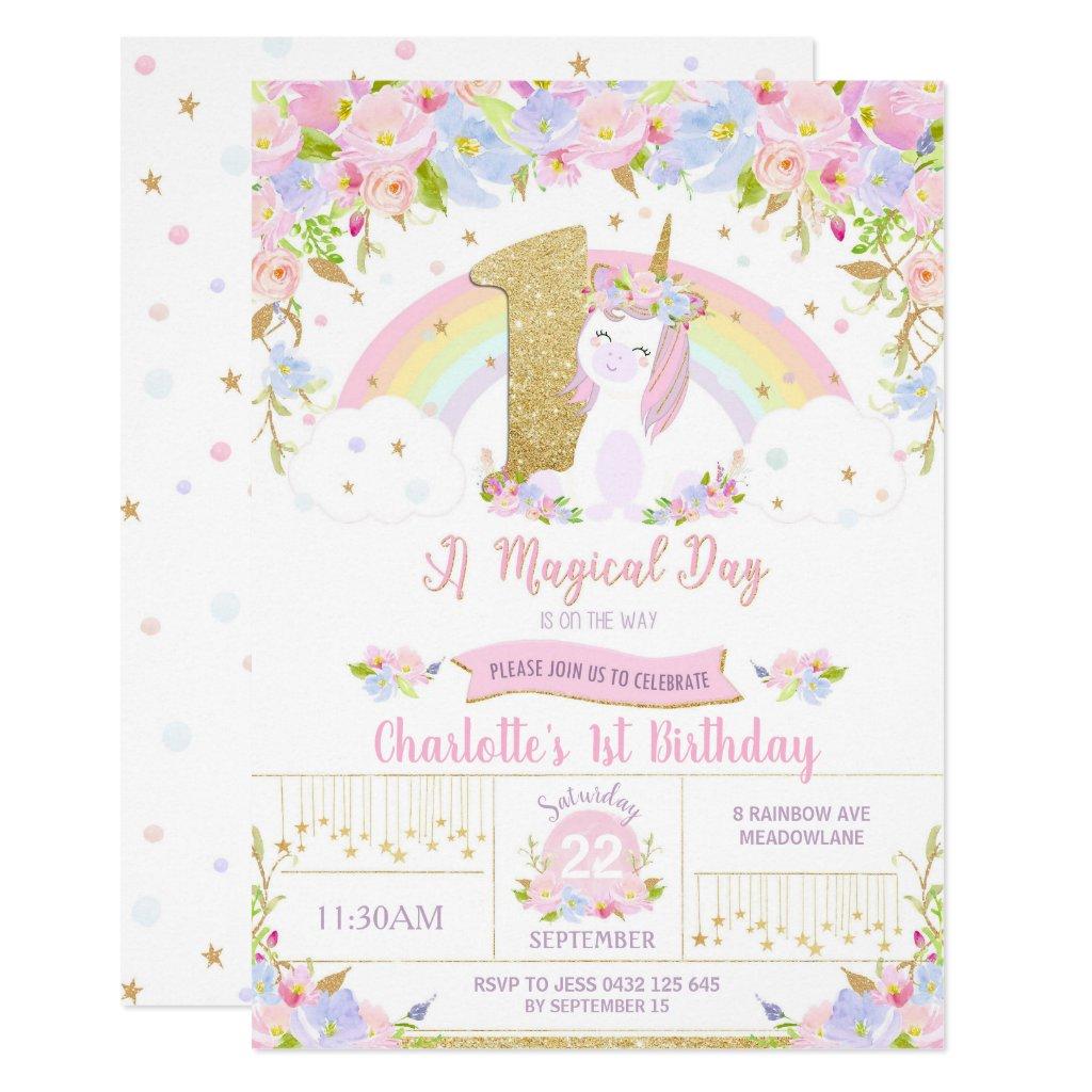 Unicorn 1st Birthday Invitation Floral Rainbow