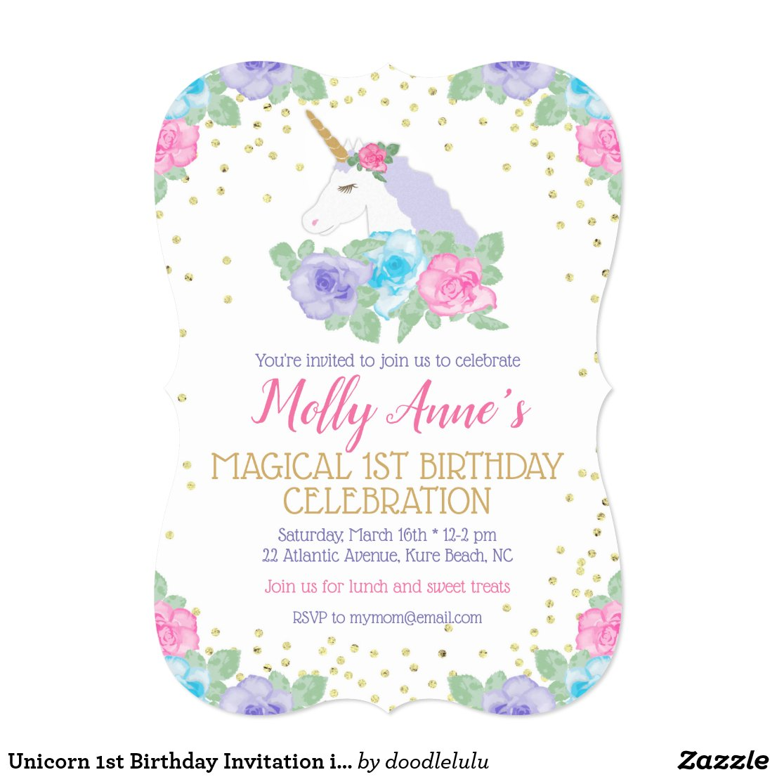 Unicorn 1st Birthday Invitation in Pink and Gold